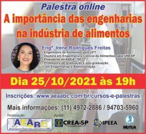 Read more about the article Próxima palestra online organizada pela AEAABC será sobre a importância das engenharias na indústria de alimentos